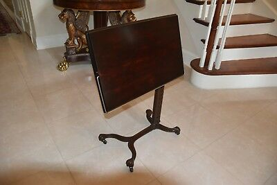 Victorian Antique Steampunk Wood Cast Iron Base Side Table Stand Drafting Desk