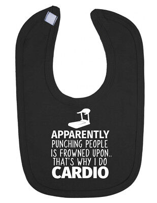 Punching People is Frowned Upon Funny Cardio Newborn Toddler Bib