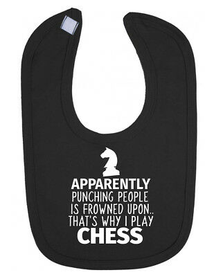 Punching People is Frowned Upon Funny Chess Newborn Toddler Bib