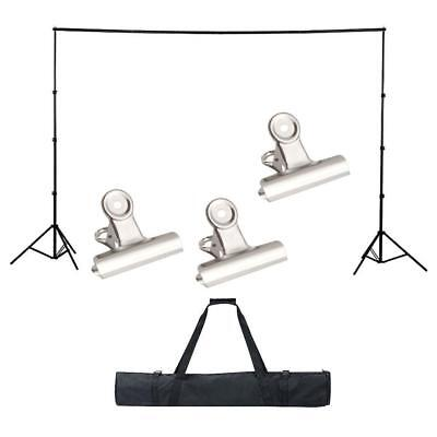 Photo Studio Background Support Stand with Free White Backdrop Carrying Case UK#