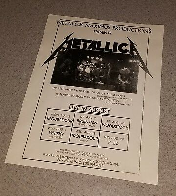 Metallica Early Rare Gig Ad Poster Aug 1982 Ron Mcgovney Dave Mustaine