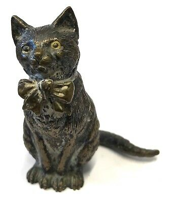Antique Austrian Cold Painted Bronze Cat With A Bow Geschutzt Possibly Bergman