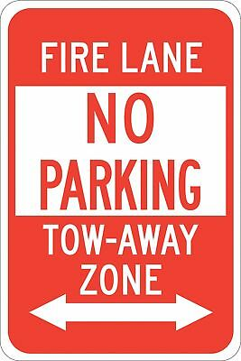 """Fire Lane, No Parking, Plastic, 18"""" x 12"""", With Mounting Holes, not reflective"""
