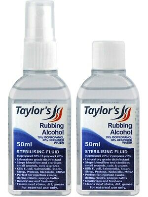 50ml Rubbing Alcohol (70% Isopropanol) First Aid Steriliser Deodoriser Derma