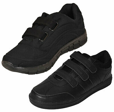 Boys Girls School Black Trainers Padded Comfy Lightweight Gym PE UK Size 8 to 6