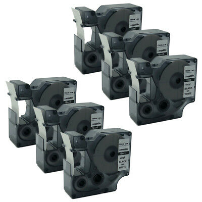 """6PK Compatible for DYMO Rhino IND Black on White Vinyl Label Tape18445 19mm 3/4"""""""