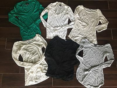 Lot Of 6 Express Long Sleeve Sweaters Tees Size Xs
