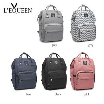 LEQUEEN Baby Diaper Bag Waterproof Mummy Maternity Nappy Travel Backpack Hooks