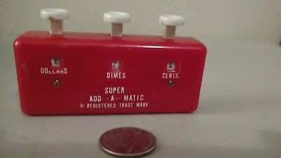 Vintage Red Super Add-A-Matic Grocery Shopping Counter Calculator Japan