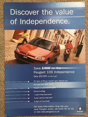 Car Brochure - 2000 Peugeot 106 Independence - UK