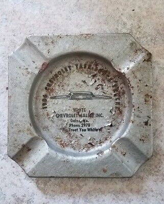 1956 Vintage White Chevrolet Chevy Dealer Metal Ashtray Ad Galax Va Virginia