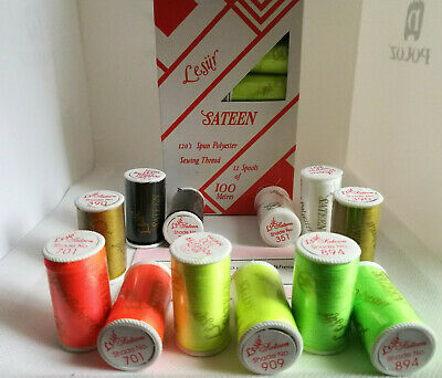 Lesur Sateen Polyester Cotton 100% Sewing Thread 100m in Full Colour Range