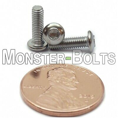 M3 - 0.50 x 10mm Stainless Steel Button Head Socket Hex Cap Screws, A2 ISO 7380