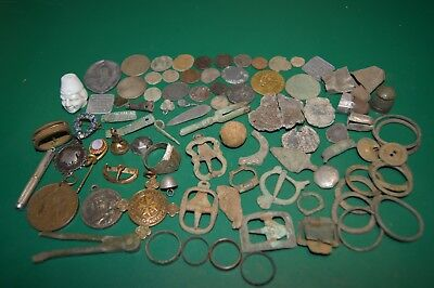 Mixed Lot Ancient Metal Detecting Finds Coins Medal Medieval Roman Silver etc