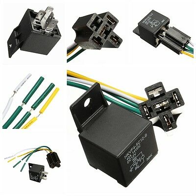 Car Auto DC 12V Volt 30/40A Automotive 4 Pin 4 Wire Relay & Socket 30amp **