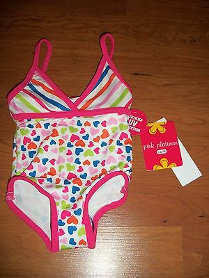 New with tags, Pink Platinum girls one piece swim suit, size 12 months