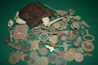 Mixed Lot Ancient Metal Detecting Finds Coins Buckles medieval etc