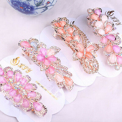1X Women Girls Crystal Rhinestone Flower Barrette Hair Clip Clamp Hairpin TSUS