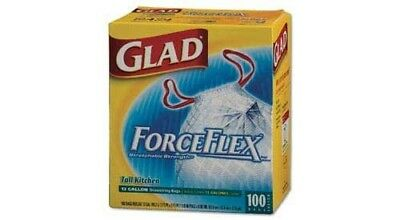 Glad ForceFlex 13 Gallon Tall Strong Stretchable Kitchen Garbage Bags With Draws