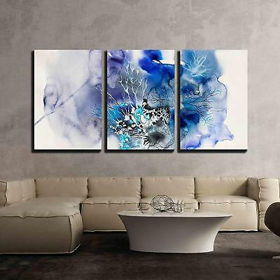 "Wall26 - abstract painting of blue flowers - CVS - 24""x36""x3 Panels"
