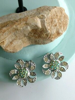 Vintage signed Sarah Coventry Aurora Borealis flower silvertone clip earrings