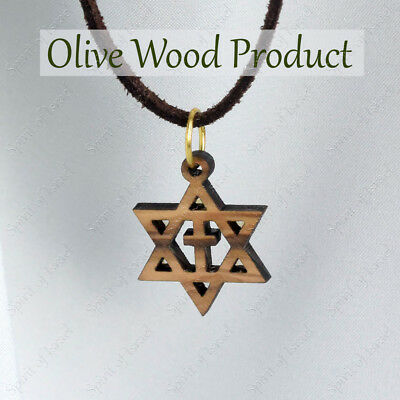 Small Christian Olive Laser Cut Wood Messianic Cross Wooden Pendant Necklace Men