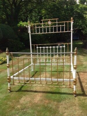 Victorian Brass And Enameled Cast Iron King Size Half Tester Bed