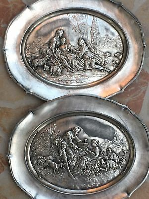 Rare Pair Antique Scenic Silverplated Plaques French Aristocrats Shepherdess