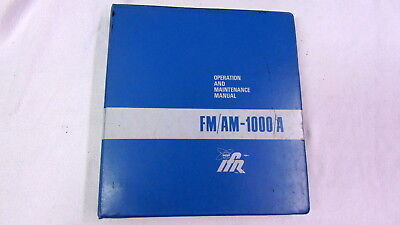 IFR FM/AM-1000A ORIGINAL PRINTED OPERATION and SERVICE MANUAL Not a Copy