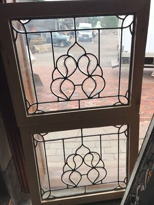 SG 2424 matched pair antique beveled glass leaded glass fire side windows 24.25…