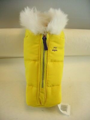 Ugava Gin yellow padded with fuzzy collar bottle cover with metal zipper