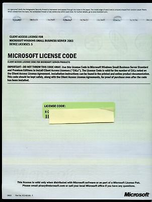 Microsoft Small Business Server 2003 Device 5 CAL License Sheet