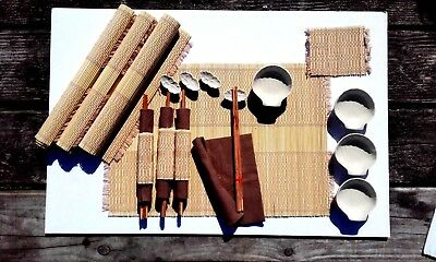 Bamboo place mat set with chopsticks, napkins & mini ceramic sauce dishes