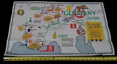 Vintage Map - 36th Infantry Div.- France/Germany/Austria  WW2 Campaign  Poster