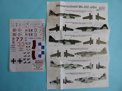 Authentic Decals 48-43 Messerschmitt Me 262 A-1a Jabo A-2a Decals 1/48