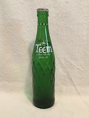 RARE FULL 10oz TEEM ACL SODA BOTTLE WHITE DOTS ON NECK PEPSI-COLA PRODUCT
