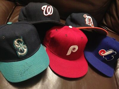 B2 Lot Of 5 New Era Fitted Hat Cap VTG Tigers Expos Nationals Phillies M's Sze 7