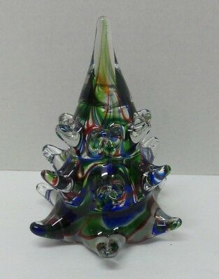Lenox Crystal Art Glass OH CHRISTMAS TREE Paperweight Sculpture Red Green Blue