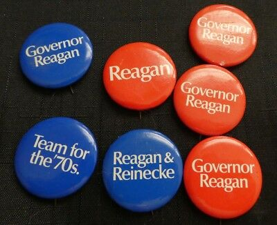 (7) Seven Vintage Ronald Regan For Governor/team For The 70's Campaign Buttons