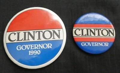 (2) 1990 Clinton For Governor Campaign Buttons