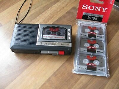 Sony Micro Cassette Recorder M-740 + 3 Tapes. Faulty.