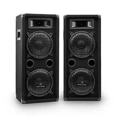 "Malone Set PA speakers 2x20cm (8"") 1600W PA luidspreker fullrange boxen 2 etages"