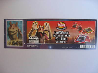 STAR WARS Promotional small Poster/shop display WALKERS  CRISPS UK only 1999.