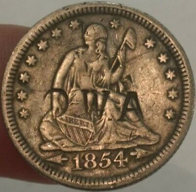 1854 F-VF Seated Liberty silver quarter dollar. Counterstamped 'OWA'