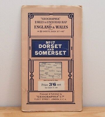 Vintage Dorset Somerset map Geographia Road paper south west England 1910s WW1