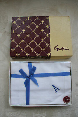 Three Grafton Vintage 1960's/70's Gents Initial A Handkerchiefs Boxed.