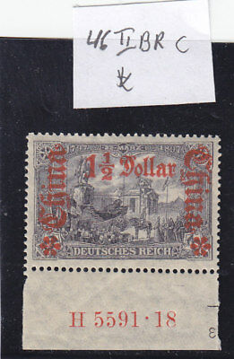 4. DP China Freimarke 1906 1 1/2 Dollar mit HAN 5591.18 Falzspur