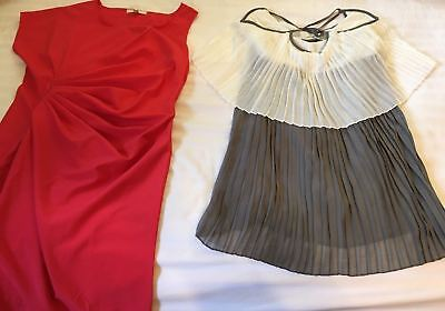 Lot Of 2: Ya Los Angeles Women Dress Red Gray White Accordion Size Small