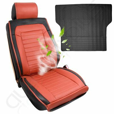 New Brown PU Leather Universal 1pc Car Seat Cushions W/Fan + 1pc Trunk Liner mat