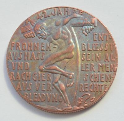 Germany After Ww1 Copper Medal Nein! 28 Jan 1921